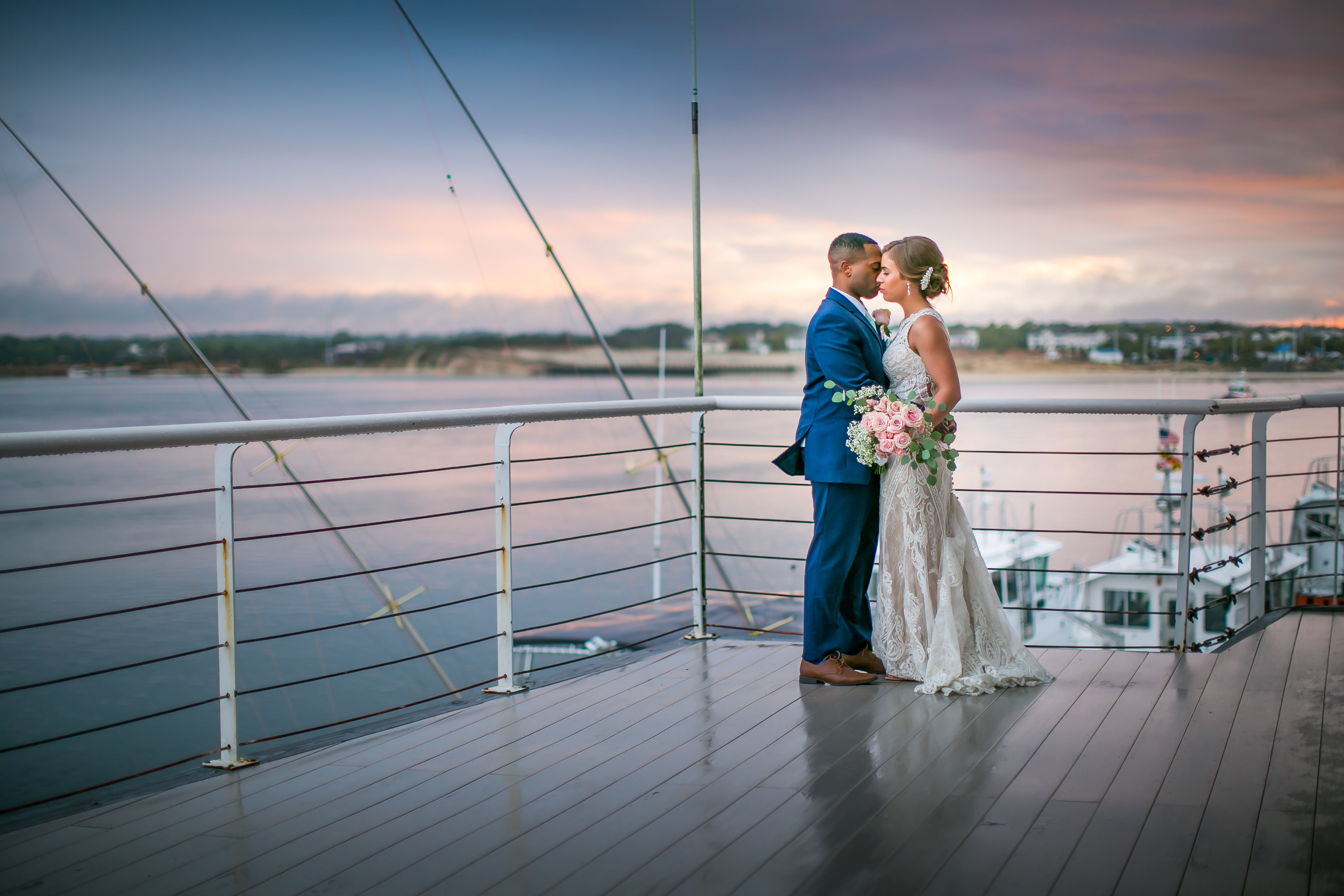 Waterfront Wedding Sunset Deck